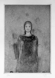 John Paul Jones (American, 1924-1999). <em>Votive Woman</em>, 1968. Etching, Image: 8 1/2 x 5 7/8 in. (21.6 x 14.9 cm). Brooklyn Museum, National Endowment for the Arts and Bristol-Myers Fund, 72.113.1. © artist or artist's estate (Photo: Brooklyn Museum, 72.113.1_bw.jpg)