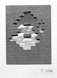 Robert Fried (American, 1937-1974). <em>Blues Patent on Exit</em>, 1971. Screenprint with embossing, Sheet: 30 x 22 in. (76.2 x 55.9 cm). Brooklyn Museum, National Endowment for the Arts and Bristol-Myers Fund, 72.114.2. © artist or artist's estate (Photo: Brooklyn Museum, 72.114.2_bw.jpg)