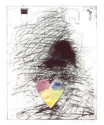 Jim Dine (American, born 1935). <em>A Girl and Her Dog, No. II</em>, 1971. Etching with hand coloring in watercolor, Image: 27 x 21 1/4 in. (68.6 x 54 cm). Brooklyn Museum, National Endowment for the Arts and Bristol-Myers Fund, 72.115.1. © artist or artist's estate (Photo: Brooklyn Museum, 72.115.1_SL4.jpg)