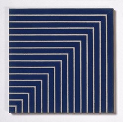 Frank Stella (American, born 1936). <em>Hampton Roads</em>, 1962. Alkyd on raw canvas (Benjamin Moore flat wall paint), 12 1/16 x 12 1/16 in. (30.6 x 30.6 cm). Brooklyn Museum, Gift of Andy Warhol, 72.167.3. © artist or artist's estate (Photo: Brooklyn Museum, 72.167.3_SL1.jpg)