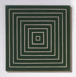 Frank Stella (American, born 1936). <em>Island No. 10</em>, 1962. Alkyd on raw canvas (Benjamin Moore flat wall paint), 12 1/8 x 12 1/8 in. (30.8 x 30.8 cm). Brooklyn Museum, Gift of Andy Warhol, 72.167.4. © artist or artist's estate (Photo: Brooklyn Museum, 72.167.4_SL1.jpg)