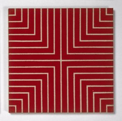 Frank Stella (American, born 1936). <em>Delaware Crossing</em>, 1962. Alkyd on raw canvas (Benjamin Moore flat wall paint), 12 1/16 x 12 1/16 in (30.6 x 30.6 cm). Brooklyn Museum, Gift of Andy Warhol