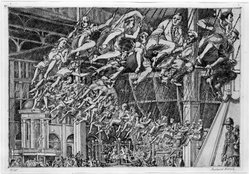 Reginald Marsh (American, 1898-1954). <em>Steeplechase Swings</em>, n.d. Etching on paper, Sheet: 10 9/16 x 14 9/16 in. (26.8 x 37 cm). Brooklyn Museum, Designated Purchase Fund and Bristol-Myers Fund, 72.6. © artist or artist's estate (Photo: Brooklyn Museum, 72.6_bw.jpg)