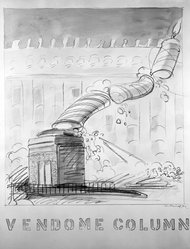 Robert Fried (American, 1937-1974). <em>Vendome Column</em>, 1971. Colored pencil and watercolor on paper, sheet: 28 1/8 x 21 3/4 in. (71.4 x 55.2 cm). Brooklyn Museum, Designated Purchase Fund, 73.113. © artist or artist's estate (Photo: Brooklyn Museum, 73.113_bw.jpg)