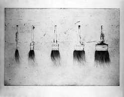 Jim Dine (American, born 1935). <em>Five Paintbrushes</em>, 1973. Etching, Image: 23 1/2 x 35 5/8 in. (59.7 x 90.5 cm). Brooklyn Museum, Designated Purchase Fund, 73.115. © artist or artist's estate (Photo: Brooklyn Museum, 73.115_bw.jpg)