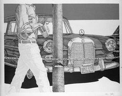 Don Eddy (American, born 1944). <em>Red Mercedes</em>, 1972. Lithograph on paper, sheet: 24 1/4 x 30 3/4 in. (61.6 x 78.1 cm). Brooklyn Museum, Designated Purchase Fund, 73.11c. © artist or artist's estate (Photo: Brooklyn Museum, 73.11c_bw.jpg)