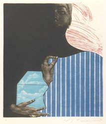 Ikeda Masuo (Japanese, 1934-1997). <em>Sphinx with September</em>, 1970. Etching, mezzotint and drypoint, Sheet: 19 3/8 x 14 3/8 in. (49.2 x 36.5 cm). Brooklyn Museum, Gift of the Helen and Felix Juda Foundation, by exchange, 73.122.2. © artist or artist's estate (Photo: Brooklyn Museum, 73.122.2_IMLS_PS3.jpg)