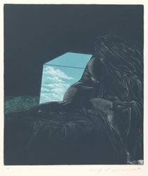 Ikeda Masuo (Japanese, 1934-1997). <em>Sphinx Covered by Sheet</em>, 1970. Etching, mezzotint and drypoint, Sheet: 19 3/8 x 14 3/8 in. (49.2 x 36.5 cm). Brooklyn Museum, Gift of the Helen and Felix Juda Foundation, by exchange, 73.122.5. © artist or artist's estate (Photo: Brooklyn Museum, 73.122.5_IMLS_PS3.jpg)