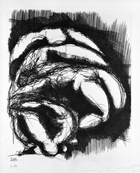 Luigi E. Mattei (Italian, born 1945). <em>Corpi (No. 245)</em>, 1973. Etching on paper, sheet: 19 1/2 x 13 3/4 in. (49.5 x 34.9 cm). Brooklyn Museum, Gift of the artist, 73.159.3. © artist or artist's estate (Photo: Brooklyn Museum, 73.159.3_bw.jpg)
