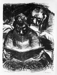Benjamin Kopman (American, 1887-1965). <em>Actors Studying Their Parts</em>, 1945. Lithograph, Sheet: 16 x 11 15/16 in. (40.6 x 30.3 cm). Brooklyn Museum, Gift of Leon Pomerance, 73.160.2c. © artist or artist's estate (Photo: Brooklyn Museum, 73.160.2c_bw.jpg)