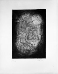 Antoni Tàpies (Spanish, 1923-2012). <em>Baret de Copa Imantat</em>, late 1940s. Etching on wove paper with deckled right edge, Image: 9 5/8 x 6 3/4 in. (24.4 x 17.1 cm). Brooklyn Museum, Designated Purchase Fund, 73.37. © artist or artist's estate (Photo: Brooklyn Museum, 73.37_bw.jpg)