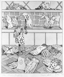 Susan Hall (American, born 1943). <em>The Glove Display</em>, 1973. Etching with watercolor, Sheet: 19 x 17 in. (48.3 x 43.2 cm). Brooklyn Museum, Designated Purchase Fund, 74.131.1. © artist or artist's estate (Photo: Brooklyn Museum, 74.131.1_bw.jpg)