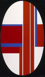 Ilya Bolotowsky (American, born Russia, 1907-1981). <em>Red, Blue, White Ellipse</em>, 1973. Acrylic on gessoed linen, 67 7/8 x 39 15/16in. (172.4 x 101.4cm). Brooklyn Museum, Healy Purchase Fund B, 74.169.1. © artist or artist's estate (Photo: Brooklyn Museum, 74.169.1_SL1.jpg)