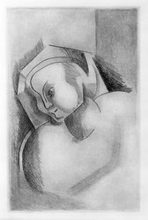 Alexander Archipenko (American, born Ukraine, 1887-1964). <em>Angelica Archipenko</em>, 1922. Etching on paper, Image: 6 7/8 x 4 1/2 in. (17.5 x 11.4 cm). Brooklyn Museum, Gift of Mr. and Mrs. Samuel Dorsky, 74.178.1. © artist or artist's estate (Photo: Brooklyn Museum, 74.178.1_bw.jpg)