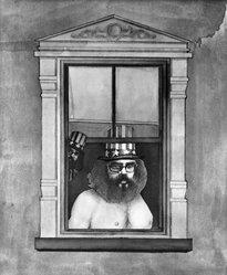 Richard Lindner (American, born Germany, 1901-1978). <em>Poet</em>, n.d. Lithograph on paper, sheet: 25 5/8 x 19 5/8 in. (65.1 x 49.8 cm). Brooklyn Museum, Gift of Mr. and Mrs. Samuel Dorsky, 74.178.51. © artist or artist's estate (Photo: Brooklyn Museum, 74.178.51_bw.jpg)