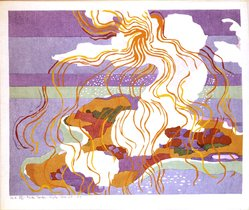 Stanton Macdonald-Wright (American, 1890-1973). <em>On Small Islands also Men Till the Earth While Larks Sing Above</em>, 1966-1967. Woodcut, Sheet: 17 15/16 x 21 7/16 in. (45.6 x 54.5 cm). Brooklyn Museum, Anonymous gift, 74.181.12. © artist or artist's estate (Photo: Brooklyn Museum, 74.181.12_SL4.jpg)