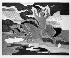 Stanton Macdonald-Wright (American, 1890-1973). <em>Naked in the Rain Riding a Naked Horse</em>, 1966-1967. Woodcut, Sheet: 17 15/16 x 21 7/16 in. (45.6 x 54.5 cm). Brooklyn Museum, Anonymous gift, 74.181.13. © artist or artist's estate (Photo: Brooklyn Museum, 74.181.13_bw.jpg)