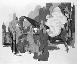 Stanton Macdonald-Wright (American, 1890-1973). <em>A Train Passes, How the Smoke Swirls, Round the Young Leaves</em>, 1966-1967. Woodcut, Sheet: 17 15/16 x 21 7/16 in. (45.6 x 54.5 cm). Brooklyn Museum, Anonymous gift, 74.181.16. © artist or artist's estate (Photo: Brooklyn Museum, 74.181.16_bw.jpg)