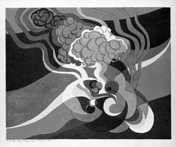 Stanton Macdonald-Wright (American, 1890-1973). <em>Cruel Heat, My Mind in a Whirl, I Listen to the Thunder Rumble</em>, 1966-1967. Woodcut, Sheet: 17 15/16 x 21 7/16 in. (45.6 x 54.5 cm). Brooklyn Museum, Anonymous gift, 74.181.17. © artist or artist's estate (Photo: Brooklyn Museum, 74.181.17_bw.jpg)