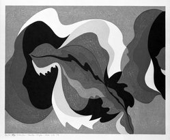Stanton Macdonald-Wright (American, 1890-1973). <em>The Sound of a Cracked Temple Bell is also Hot under a Summer Moon</em>, 1966-1967. Woodcut, Sheet: 17 15/16 x 21 7/16 in. (45.6 x 54.5 cm). Brooklyn Museum, Anonymous gift, 74.181.20. © artist or artist's estate (Photo: Brooklyn Museum, 74.181.20_bw.jpg)