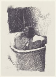 Pierre Bonnard (French, 1867-1947). <em>The Bath, Second Version (Le Bain [deuxième planche])</em>, ca. 1925. Lithograph on laid China paper, Sheet: 14 3/8 x 10 5/8 in. (36.5 x 27 cm). Brooklyn Museum, Designated Purchase Fund, 74.35. © artist or artist's estate (Photo: Brooklyn Museum, 74.35_SL3.jpg)