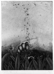 Maurilio Minuzzi (Italian, born 1939). <em>Suchapparatur</em>, 1971. Etching and aquatint on paper, sheet: 20 7/8 x 15 1/8 in. (53 x 38.4 cm). Brooklyn Museum, Designated Purchase Fund, 74.68.1. © artist or artist's estate (Photo: Brooklyn Museum, 74.68.1_bw.jpg)