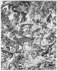 Erik Desmazieres (French, born 1948). <em>Le Temple Dans la Jungle</em>, 1973. Etching, Sheet: 33 5/8 x 24 3/4 in. (85.4 x 62.9 cm). Brooklyn Museum, Designated Purchase Fund, 74.68.3. © artist or artist's estate (Photo: Brooklyn Museum, 74.68.3_bw.jpg)