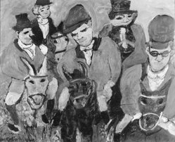 Justin McCarthy. <em>Hunters</em>, ca. 1964. Oil on masonite panel, 29 x 34 in. (73.7 x 86.4 cm). Brooklyn Museum, Mr. and Mrs. Alastair Bradley Martin, 75.134. © artist or artist's estate (Photo: Brooklyn Museum, 75.134_bw.jpg)