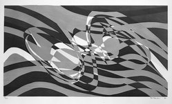 Stanley William Hayter (British, 1901-1988). <em>Untitled</em>, 1973. Lithograph in three colors, Sheet: 21 1/8 x 30 in. (53.7 x 76.2 cm). Brooklyn Museum, Designated Purchase Fund, 75.16.11. © artist or artist's estate (Photo: Brooklyn Museum, 75.16.11_bw.jpg)
