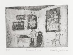 Dorothy Kallman (American). <em>Museum Scene</em>, 1973. Etching and aquatint, Sheet: 6 5/8 x 8 1/2 in. (16.8 x 21.6 cm). Brooklyn Museum, Gift of the artist, 75.184. © artist or artist's estate (Photo: Brooklyn Museum, 75.184_PS4.jpg)