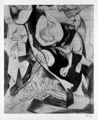 Jackson Pollock (American, 1912-1956). <em>Untitled (No. 1 Series of 7)</em>, 1944-1945. Engraving on paper, sheet: 21 7/16 x 14 in. (54.5 x 35.6 cm). Brooklyn Museum, Gift of Lee Krasner Pollock, 75.213.1. © artist or artist's estate (Photo: Brooklyn Museum, 75.213.1_bw.jpg)