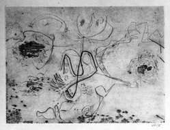 Jackson Pollock (American, 1912-1956). <em>Untitled (No. 2 Series of 7)</em>, 1944-1945. Engraving on paper, sheet: 14 3/4 x 21 1/2 in. (37.5 x 54.6 cm). Brooklyn Museum, Gift of Lee Krasner Pollock, 75.213.2. © artist or artist's estate (Photo: Brooklyn Museum, 75.213.2_bw.jpg)