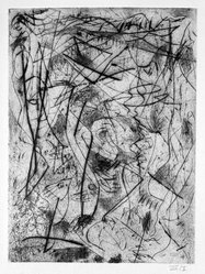 Jackson Pollock (American, 1912-1956). <em>Untitled (No. 4 Series of 7)</em>, 1944-1945. Engraving on paper, sheet: 21 1/2 x 14 7/16 in. (54.6 x 36.7 cm). Brooklyn Museum, Gift of Lee Krasner Pollock, 75.213.4. © artist or artist's estate (Photo: Brooklyn Museum, 75.213.4_bw.jpg)