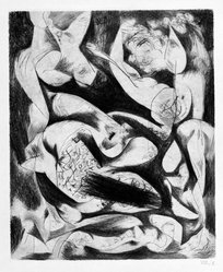 Jackson Pollock (American, 1912-1956). <em>Untitled (No. 5 Series of 7)</em>, 1944-1945. Engraving on paper, sheet: 21 1/2 x 14 11/16 in. (54.6 x 37.3 cm). Brooklyn Museum, Gift of Lee Krasner Pollock, 75.213.5. © artist or artist's estate (Photo: Brooklyn Museum, 75.213.5_bw.jpg)