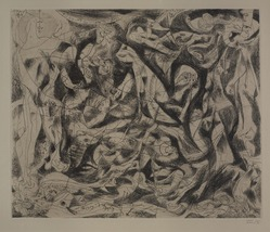 Jackson Pollock (American, 1912-1956). <em>Untitled (No. 6 Series of 7)</em>, 1944-1945. Engraving on wove paper, sheet: 21 1/2 × 28 13/16 in. (54.6 × 73.2 cm). Brooklyn Museum, Gift of Lee Krasner Pollock, 75.213.6. © artist or artist's estate (Photo: , 75.213.6_PS9.jpg)