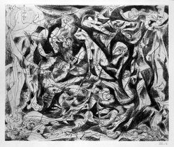 Jackson Pollock (American, 1912-1956). <em>Untitled (No. 6 Series of 7)</em>, 1944-1945. Engraving on wove paper, sheet: 21 1/2 × 28 13/16 in. (54.6 × 73.2 cm). Brooklyn Museum, Gift of Lee Krasner Pollock, 75.213.6. © artist or artist's estate (Photo: Brooklyn Museum, 75.213.6_bw.jpg)