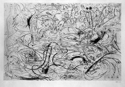 Jackson Pollock (American, 1912-1956). <em>Untitled (No. 7 Series of 7)</em>, 1944-1945. Engraving on paper, sheet: 21 1/4 x 28 5/8 in. (54 x 72.7 cm). Brooklyn Museum, Gift of Lee Krasner Pollock, 75.213.7. © artist or artist's estate (Photo: Brooklyn Museum, 75.213.7_bw.jpg)
