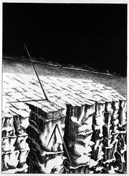 David Smyth (American, born 1943). <em>Untitled (Javelin Proposal)</em>, 1972. Lithograph on paper, sheet: 31 x 21 in. (78.7 x 53.3 cm). Brooklyn Museum, Designated Purchase Fund, 75.43.2. © artist or artist's estate (Photo: Brooklyn Museum, 75.43.2_bw.jpg)