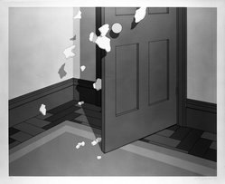 Jeffery Edwards (British, born 1945). <em>A Narrow Escape</em>, 1973. Screenprint in color, Sheet: 31 1/4 x 36 1/2 in. (79.4 x 92.7 cm). Brooklyn Museum, Restricted Income Fund, 75.44.2. © artist or artist's estate (Photo: Brooklyn Museum, 75.44.2_bw.jpg)