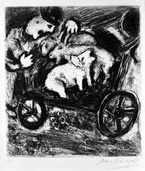 Marc Chagall (French, born Russia, 1887-1985). <em>The Shepherd and His Flock</em>, 1927. Etching and drypoint on laid paper with deckle edge (right and bottom), Plate: 11 5/8 x 10 1/2 in. (29.5 x 26.7 cm). Brooklyn Museum, Gift of Mr. and Mrs. Charles K. Wilkinson, 75.80. © artist or artist's estate (Photo: Brooklyn Museum, 75.80_bw.jpg)