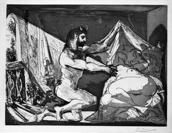 Pablo Picasso (Spanish, 1881-1973). <em>Faune Dévoilant une Dormeuse (Jupiter et Antiope, d'après Rembrandt)</em>, 1936. Aquatint on laid paper with deckled edges on all sides, Sheet: 13 7/16 x 17 1/2 in. (34.1 x 44.5 cm). Brooklyn Museum, Gift of The Roebling Society in honor of Jo Miller and Designated Purchase Fund, 75.81. © artist or artist's estate (Photo: Brooklyn Museum, 75.81_bw.jpg)