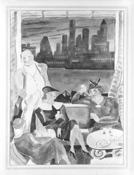 Marguerite Thompson Zorach (American, 1887-1968). <em>Cocktail Party in Brooklyn Heights</em>. Watercolor Brooklyn Museum, Gift of Dr. and Mrs. Sidney Hook, 76.121. © artist or artist's estate (Photo: Brooklyn Museum, 76.121_bw.jpg)