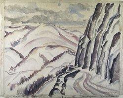 John Kellog Woodruff (American, 1879-1956). <em>Storm King Road (Hudson River Highlands)</em>. Watercolor (with pencil underdrawing) on paper Brooklyn Museum, Gift of Bessie Woodruff, 76.124. © artist or artist's estate (Photo: Brooklyn Museum, 76.124.jpg)