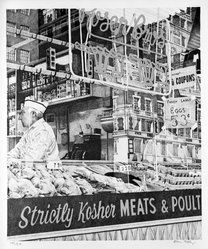 Don Eddy (American, born 1944). <em>Rosen Bros. Strictly Kosher Meats</em>, 1973. Lithograph (color) acrylic, Image: 24 1/8 x 20 1/4 in. (61.3 x 51.4 cm). Brooklyn Museum, Gift of Dr. and Mrs. Samuel S. Mandel, 76.15.1. © artist or artist's estate (Photo: Brooklyn Museum, 76.15.1_bw.jpg)