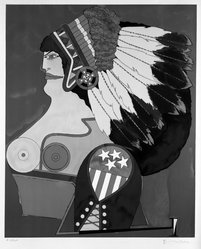 Richard Lindner (American, born Germany, 1901-1978). <em>Miss American Indian</em>, 1971. Lithograph on paper Brooklyn Museum, Gift of Dr. and Mrs. Samuel S. Mandel, 76.15.3. © artist or artist's estate (Photo: Brooklyn Museum, 76.15.3_bw.jpg)