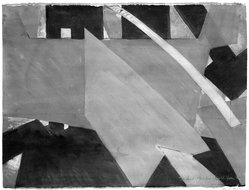 Jasha Green (American, 1923-2006). <em>Treatment: Floor Kite</em>, 1976. Watercolor and chalk on paper, frame: 24 1/2 x 31 1/2 in. (62.2 x 80 cm). Brooklyn Museum, Gift of Joseph Mishkin, 76.194.1. © artist or artist's estate (Photo: Brooklyn Museum, 76.194.1_bw.jpg)