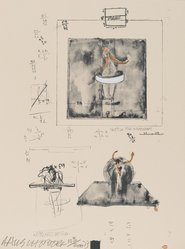 "Robert Rauschenberg (American, 1925-2008). <em>[Untitled] (Installation drawing for ""Monogram"")</em>, 1973. Lithograph and silkscreen, Sheet: 11 15/16 x 9 in. (30.3 x 22.9 cm). Brooklyn Museum, Gift of Theodore Kheel, 76.205.21. © artist or artist's estate (Photo: Brooklyn Museum, 76.205.21_PS2.jpg)"
