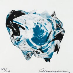 John Chamberlain (American, 1927-2011). <em>[Untitled]</em>, 1973. Color lithograph on acetate, Sheet: 8 15/16 x 8 15/16 in. (22.7 x 22.7 cm). Brooklyn Museum, Gift of Theodore Kheel, 76.205.3. © artist or artist's estate (Photo: Brooklyn Museum, 76.205.3_PS2.jpg)