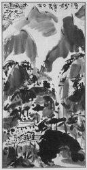 Munakata Shiko (Japanese, 1903-1975). <em>Mountain Landscape</em>, ca. 1960. Ink on paper, overall: 33 1/8 x 20 1/4 in. (84.1 x 51.4 cm). Brooklyn Museum, Gift of Sidney B. Cardozo, Jr., 76.42.3. © artist or artist's estate (Photo: Brooklyn Museum, 76.42.3_bw_IMLS.jpg)