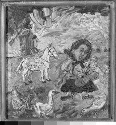 David Burliuk (American, 1882-1967). <em>Peasant Woman Feeding Ducks</em>, before 1937. Oil on canvas, 13 x 12 in. (33 x 30.5 cm). Brooklyn Museum, Gift of Leon Pomerance, 76.52.3. © artist or artist's estate (Photo: Brooklyn Museum, 76.52.3_framed_bw.jpg)